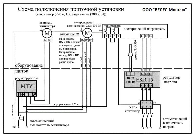Принципиальная электрическая схема подключения приточно